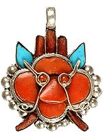 Gemstone Mahakala Pendant (Coral and Turquoise)