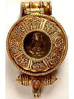 Gold plated Ashtamangala Gau Box Pendant of Guru Rinpoche