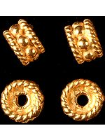 Gold Plated Beads with Knotted Rope (Price Per Pair)