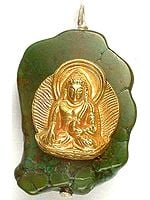 Gold Plated Buddha In Bhumisparsha Mudra On Turquoise