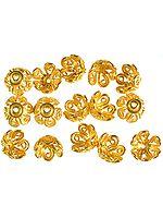 Gold Plated Floral Caps with Lattice (Price Per Pair)