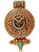 Gold Plated Gau Box Pendant from Tibet