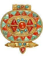 Gold Plated Gau Box Pendant with Central Vajra