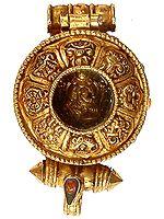 Gold Plated Green Tara Pendant with Ashtamangala