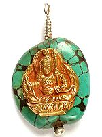 Gold Plated Guru Rinpoche (Padmasambhava) On Turquoise
