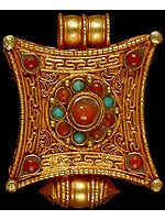 Gold Plated Mandala Gau Box Pendant