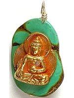 Gold Plated Medicine Buddha On Turquoise