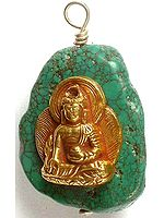 Gold Plated Medicine Buddha On Turquoise