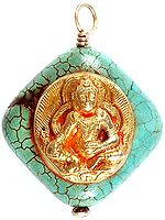 Gold Plated Medicine Buddha on Turquoise  Pendant