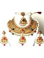 Golden Bridal Set with Necklace, Earrings, and Tika