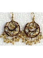 Golden Meenakari Cradle Earrings