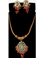Gold-Plated Kundan Necklace with Orange Cut-Glass Beads and Earrings