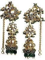Green Earwrap Kundan Umbrella Earrings with Glass Beads