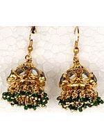 Green Kundan Chandelier Earrings