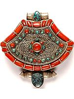 Himalayan Buddhist Gau Box Pendant with Coral and Turquoise
