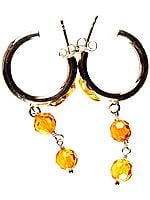 Hoop Earrings with Faceted Amber