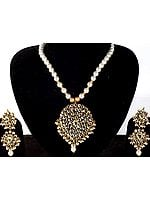 Imitation Pearls and Kundan Necklace Set with Large Pendant