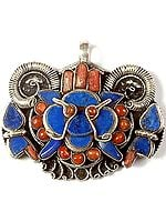 Inlay Lapis Lazuli Mahakala Head Pendant with Coral