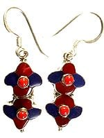 Inlay Nepalese Earrings with Coral