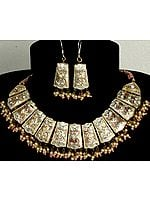 Ivory and Golden Bridal Necklace and Earrings Set with Cut Glass