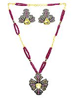 Citrine and Pink Tourmaline Necklace & Earrings Victorian Set