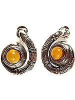 Amber Spiral Earrings