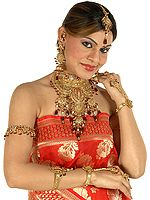 Golden Bridal Set with Choker, Earrings, Tika and Slave Bracelets