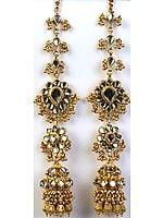 Golden Earwrap Kundan Chandelier Earrings