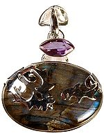 Labradorite Oval Pendant with Faceted Amethyst Marquis