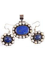 Lapis Lazuli and Pearl Pendant with Matching Earrings Set