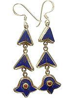 Lapis Lazuli Dangling Inlay Earrings from Nepal