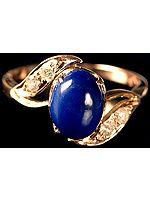 Lapis Lazuli Finger Ring with Diamonds