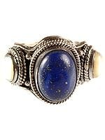 Lapis Lazuli Finger Ring with Twin Pearl