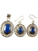 Lapis Lazuli Oval Pendant with Earrings Set