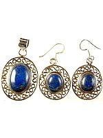 Lapis Lazuli Oval Pendant with Earrings Set