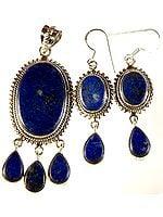Lapis Lazuli Pendant with Matching Earrings