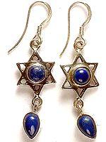 Lapis Lazuli Star Earrings with Dangle