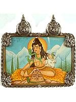 Lord Shiva on the Mount of Kailash with Nandi and Four Sterling Images of Shiva and Twin Surya Atop