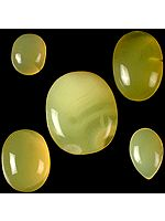 Lot of Five Yellow Chalcedony Cabochons