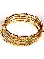 Lot of Four Golden Bangles with Multi-color Cut Glass