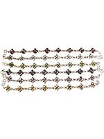 Lot of Six Faceted Bracelets (Garnet, Rainbow Moonstone, Peridot, Iolite, Amethyst and Citrine)