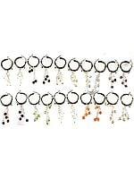 Lot of Ten Gemstone Hoop Earrings (Rainbow Moonstone, Black Onyx, Citrine, Blue Chalcedony, Amethyst, Garnet, Peridot, Rose Quartz, Carnelian and Pearl)