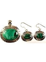 Malachite Pendant with Earrings Set