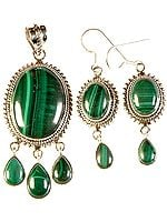 Malachite Pendant with Matching Earrings