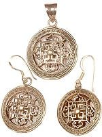 Mandala Pendant & Earrings Set