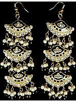 Meenakari Kites Earrings with Pearl