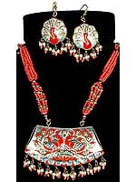 Meenakari Peacock Pair Necklace with Matching Earrings