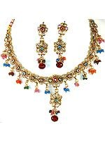 Multi-Color Polki Necklace and Earrings Set with Cut Glass