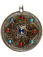 Nepalese Filigree Double-sided Gemstone Pendant (Coral, Turquoise and Lapis Lazuli)