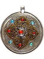 Nepali Filigree Double-sided Gemstone Mandala Pendant (Coral Turquoise and Lapis Lazuli)